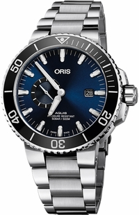 Oris Aquis Small Second, Date Blue Dial Diving Watch 74377334135MB