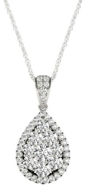 Diamond Oval Pendant, 1.08 Carat on 18k White Gold P20248W