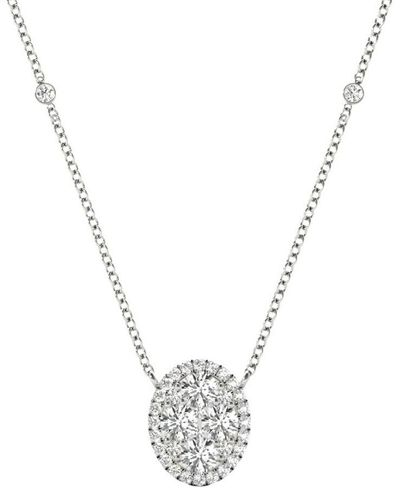 Diamond Oval Pendant, .71 Carat on 18k White Gold P20243W