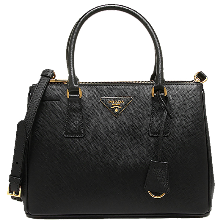 4a11d51d6b2b61 Black Prada Saffiano Lux Small Double-Zip Tote Bag with Gold Hardware -  image 0 ...