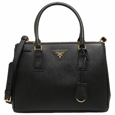 Prada Black Saffiano Lux Small Double-Zip Tote Bag with Gold Hardware