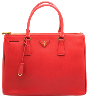Ladies Red Prada Saffiano Lux Small Double-Zip Tote Bag