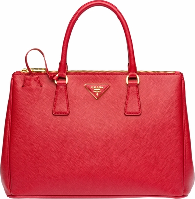 Women's Red Prada Saffiano Lux Medium Double-Zip Tote Bag