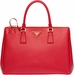 Women's Red Prada Saffiano Lux Medium Double-Zip Tote Bag - image 0
