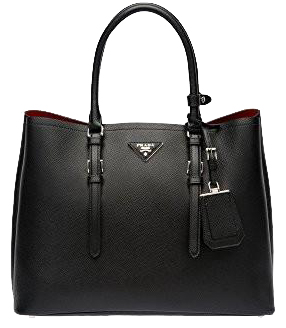 Prada Black Saffiano Cuir Double Large Tote Bag with Red Lining