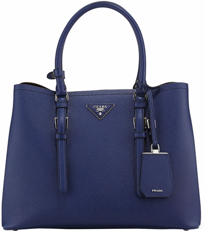 Prada Blue Saffiano Cuir Double Large Tote Bag