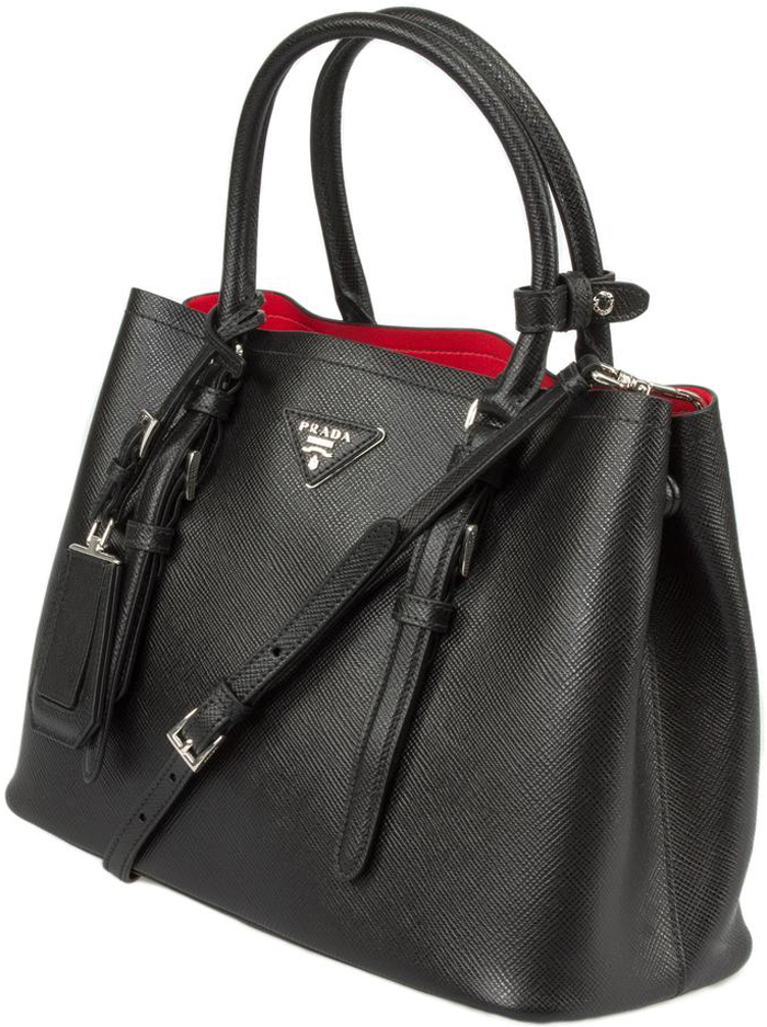 ... Black with Red Lining Prada Saffiano Cuir Double Medium Tote Bag -  image 1