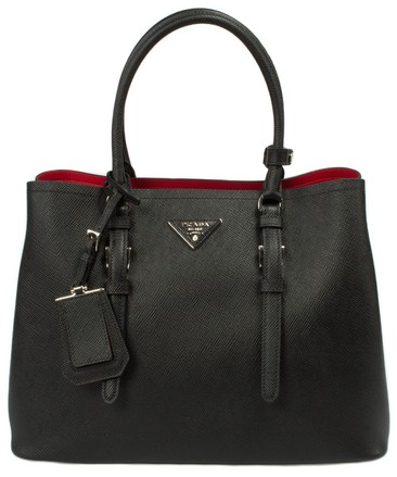 Black with Red Lining Prada Saffiano Cuir Double Medium Tote Bag