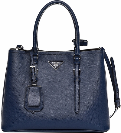 Prada Saffiano Cuir Double Medium Tote Bag in Blue