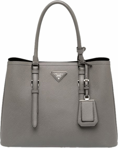 Women's Prada Grey Saffiano Cuir Double Medium Tote Bag