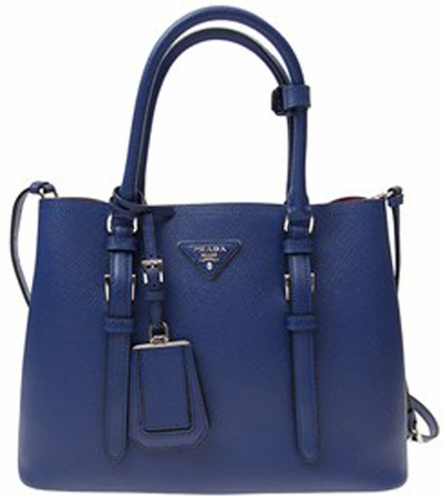 Blue Women's Prada Saffiano Cuir Double Small Tote Bag