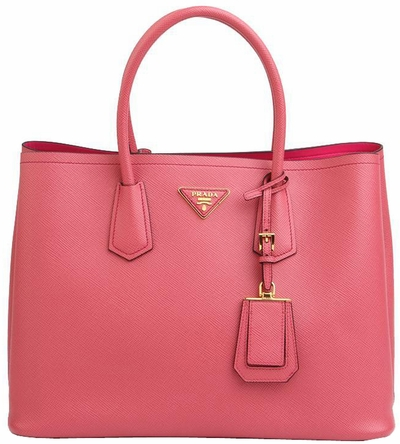 Pink Prada Saffiano Cuir Double Large Tote Bag