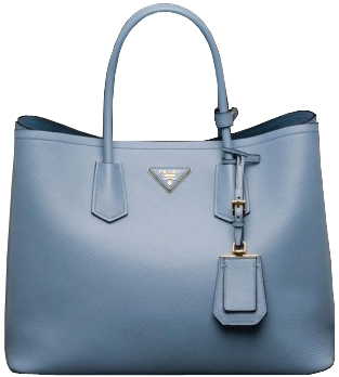 Pale Blue Prada Saffiano Cuir Double Large Tote Bag