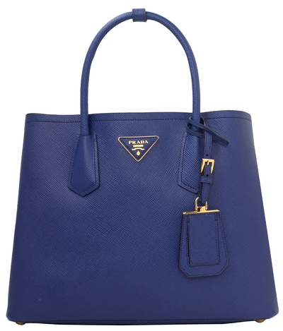 Prada Blue Saffiano Cuir Double Medium Tote Bag