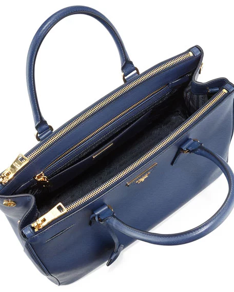 fadc4a0dc20b ... Blue Prada Saffiano Lux Medium Double-Zip Tote Bag - image 3 ...