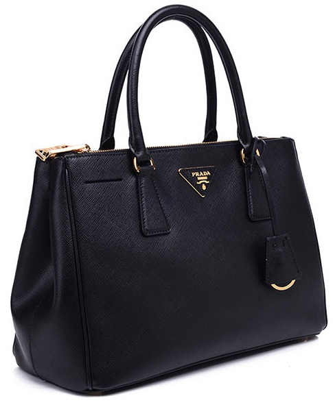 ... Black Prada Saffiano Lux Small Double-Zip Tote Bag with Gold Hardware -  image 4