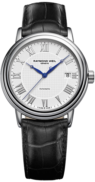 79819bf4c 2837-STC-00308 Raymond Weil Maestro Mens White Roman Dial Leather Strap  Automatic Watch