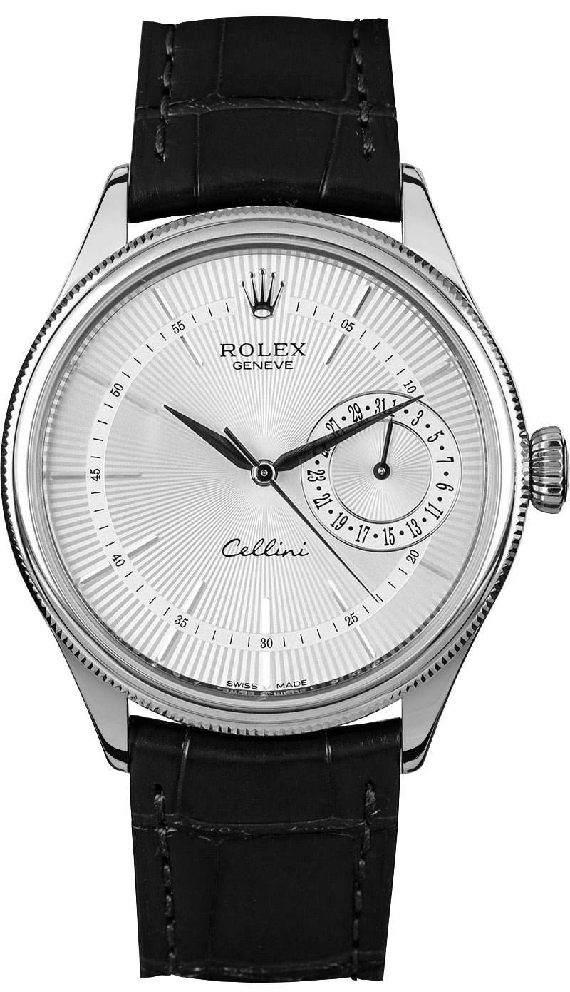 50519 rolex cellini date silver dial watch for Rolex cellini