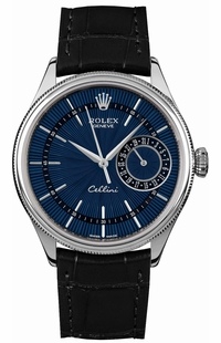 Rolex Cellini Date Blue Dial Black Leather Strap Men's Watch 50519
