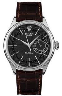 Rolex Cellini Date Domed & Fluted Double Bezel Men's Watch 50519