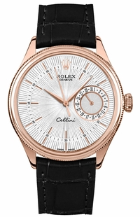 Rolex Cellini Date Silver Guilloche Dial Men's Watch 50515