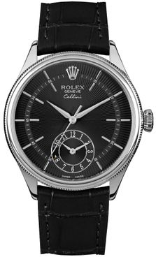 Rolex Cellini Dual Time Solid 18k White Gold Men's Watch 50529
