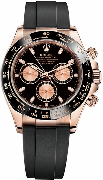 Rolex Cosmograph Daytona Black Rubber Strap Watch 116515LN