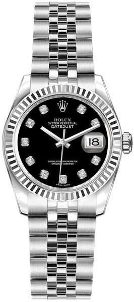 Rolex Lady-Datejust 26 Black Dial Women's Watch 179174