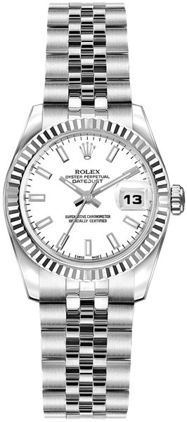 Rolex Lady-Datejust 26 White Dial Watch 179174