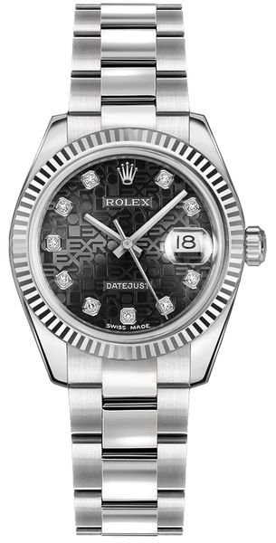 Rolex Datejust 31 Black Jubilee Diamond Dial Women's Watch 178274
