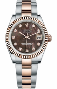 Rolex Datejust 31 Black Mother of Pearl Diamond Dial Watch 178271-0054