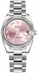 Rolex Datejust 31 Pink Roman Numeral Oyster Bracelet Watch 178274
