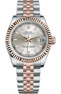 Rolex Datejust 31 Rose Gold & Steel Silver Dial Watch 178271