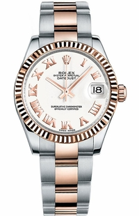 Rolex Datejust 31 White Dial Rose Gold & Steel Watch 178271