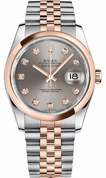 Rolex Datejust 36 Rose Gold Bezel Watch 116201