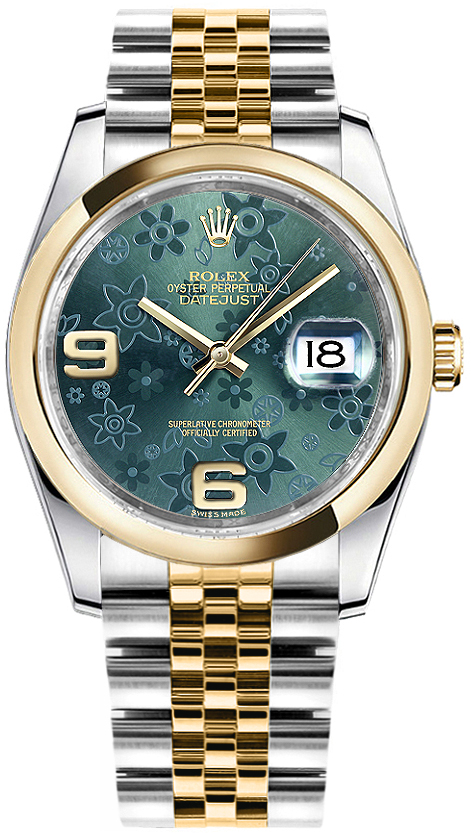 Rolex_Datejust_36_Green_Floral_Dial_Watch_116203