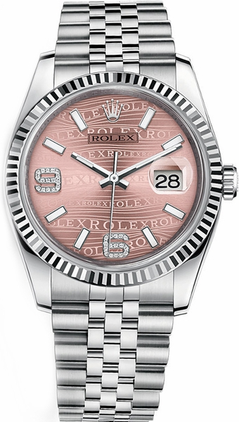 Rolex Datejust 36 Pink Diamond Jubilee Bracelet Watch 116234