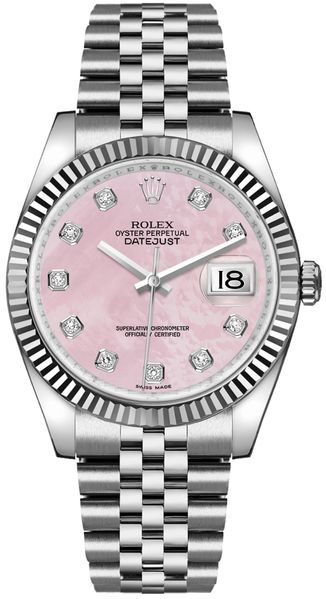 Rolex Datejust 36 Pink Mother of Pearl Dial Women's Watch 116234