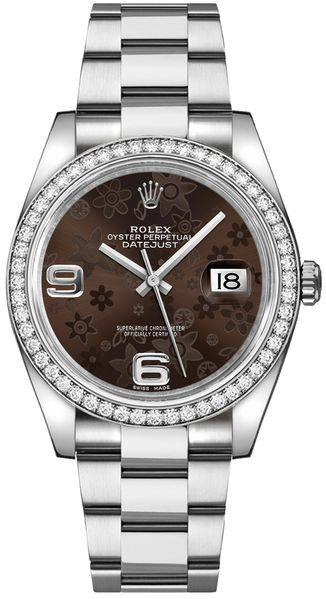 Rolex Datejust 36 Brown Floral Dial Watch 116244