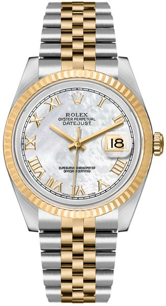 Rolex Datejust 36 Mother of Pearl Dial 18k Gold & Steel Watch 16233