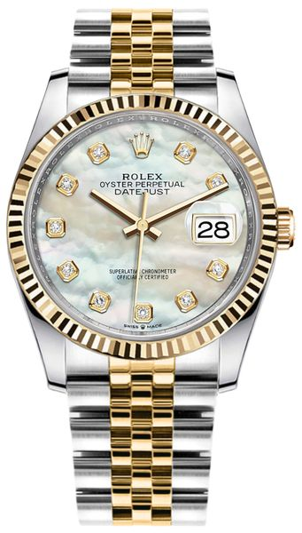 Rolex Datejust 36 Mother of Pearl Diamond Dial Watch 126233
