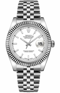 Rolex Datejust 36 White Dial Jubilee Bracelet Watch 116234-0088