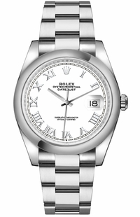 Rolex Datejust 36 White Dial Roman Numerals Men's Watch 126200-0008