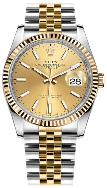 Rolex Datejust 36mm Gold & Steel Champagne Dial Watch 126233