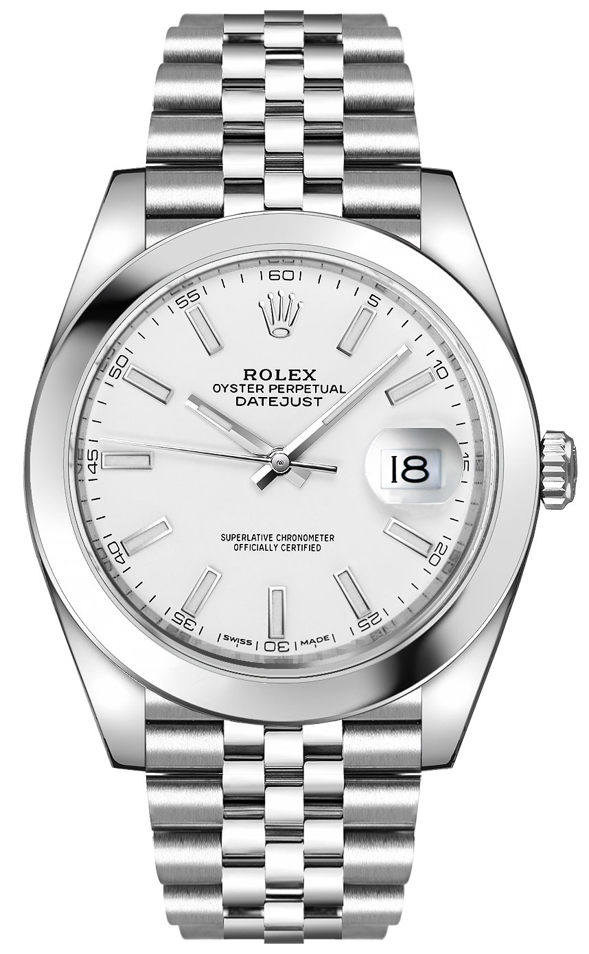 Rolex Datejust 41 White Dial Steel Watch 126300