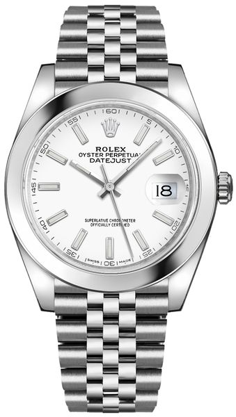 Rolex Datejust 41 White Dial Oystersteel Automatic Chronometer Men's Watch 126300-0006