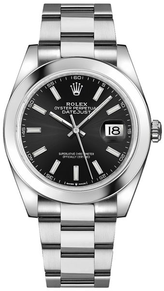 Rolex Datejust 41 Black Dial Steel Men's Watch 126300-0011