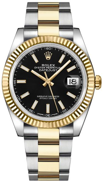 Rolex Datejust 41 Black Dial Fluted Bezel Watch 126333