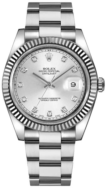 Rolex Datejust 41 Silver Diamond Men's Watch 126334