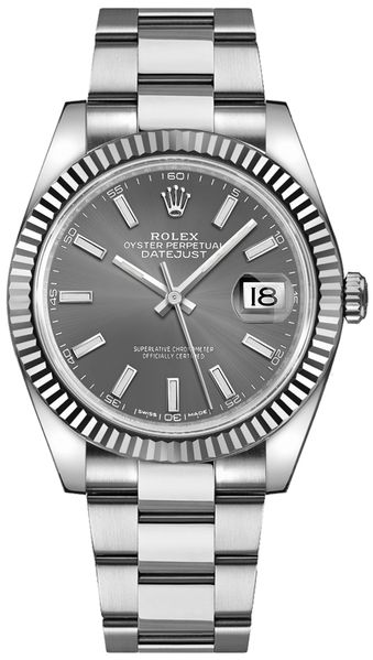 Rolex Datejust 41 Oystersteel Rhodium Men's Watch 126334-0013